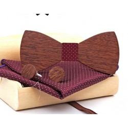 Mahoosive Dřevěné manžetové knoflíčky s motýlkem a kapesníčkem US82