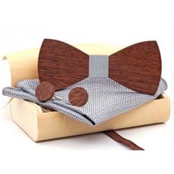 Mahoosive Dřevěné manžetové knoflíčky s motýlkem a kapesníčkem US76