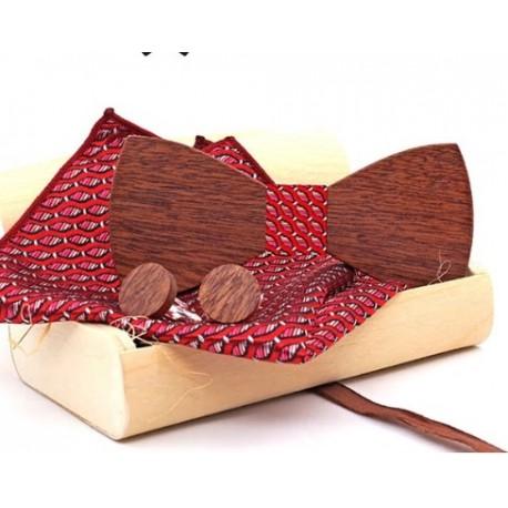 Mahoosive Dřevěné manžetové knoflíčky s motýlkem a kapesníčkem US81