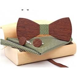 Mahoosive Dřevěné manžetové knoflíčky s motýlkem a kapesníčkem US78