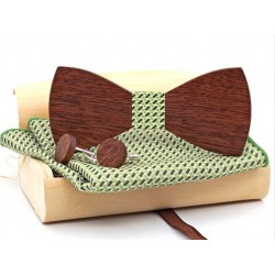 Mahoosive Dřevěné manžetové knoflíčky s motýlkem a kapesníčkem US73