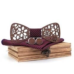Mahoosive Dřevěné manžetové knoflíčky s motýlkem a kapesníčkem T206-C4