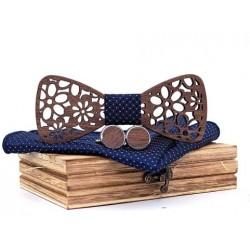 Mahoosive Dřevěné manžetové knoflíčky s motýlkem a kapesníčkem T206-C6
