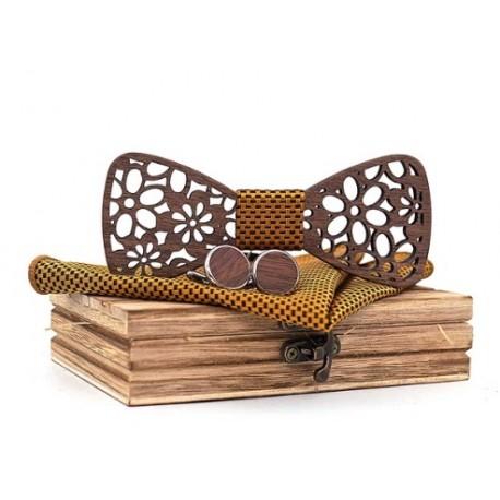 Mahoosive Dřevěné manžetové knoflíčky s motýlkem a kapesníčkem T206-C2