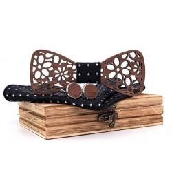 Mahoosive Dřevěné manžetové knoflíčky s motýlkem a kapesníčkem T206-C1