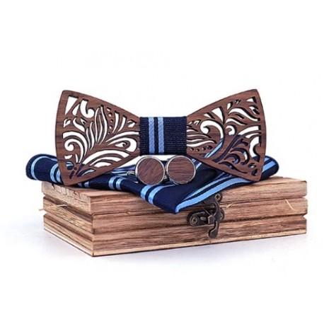 Mahoosive Dřevěné manžetové knoflíčky s motýlkem a kapesníčkem T205-C3