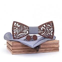 Mahoosive Dřevěné manžetové knoflíčky s motýlkem a kapesníčkem T205-C6