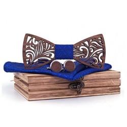 Mahoosive Dřevěné manžetové knoflíčky s motýlkem a kapesníčkem T205-C5